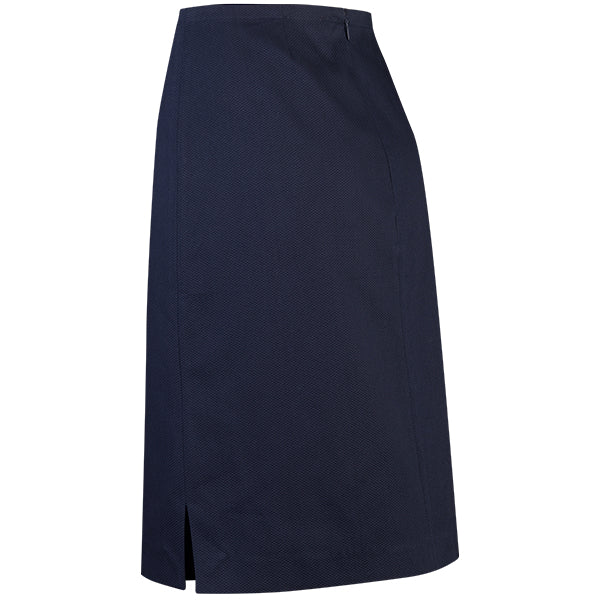 Straight Pique Skirt in Navy