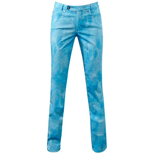 Printed Straight Leg Jean In Scuba Blue Brushstrokes