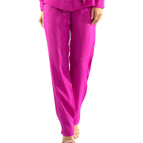 Metallic Stripe Pants In Fuxia/Gold Stripe