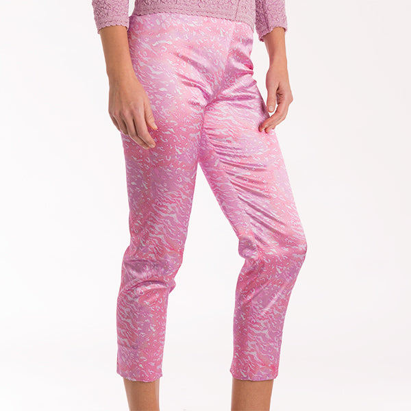 Print Viscose Cotton Capri In Pink Zebra