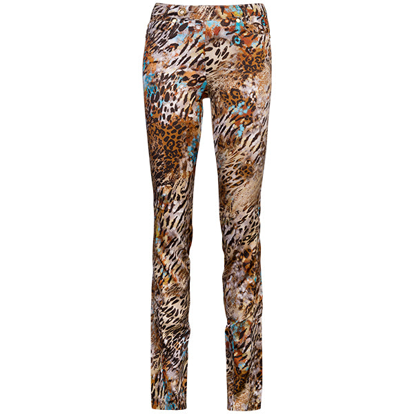 Satin/Viscose Printed Jean In Animal Mix
