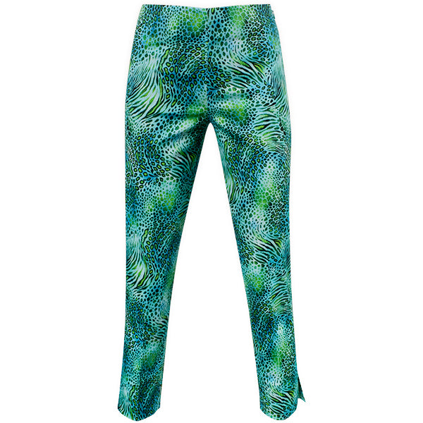 Printed Capri In Green/Turq Leopard