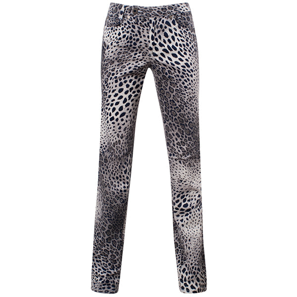Printed Straight Leg Jean In Navy & Grey Leopard