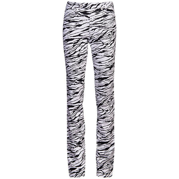 Printed Straight Leg Jean In Black Modern Zebra