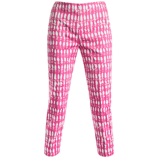 Print Cotton Stretch Capri In Pink Colorblock.