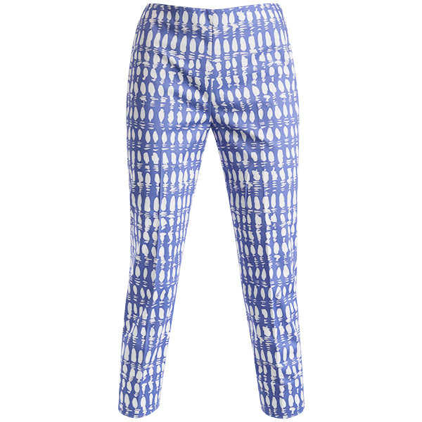 Print Cotton Stretch Capri In Periwinkle Colorblock.