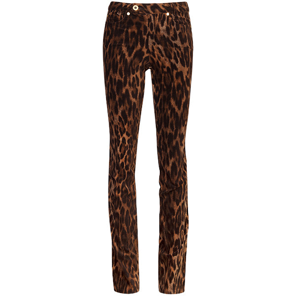 Printed Velvet Jean In Dark Brown Leopard