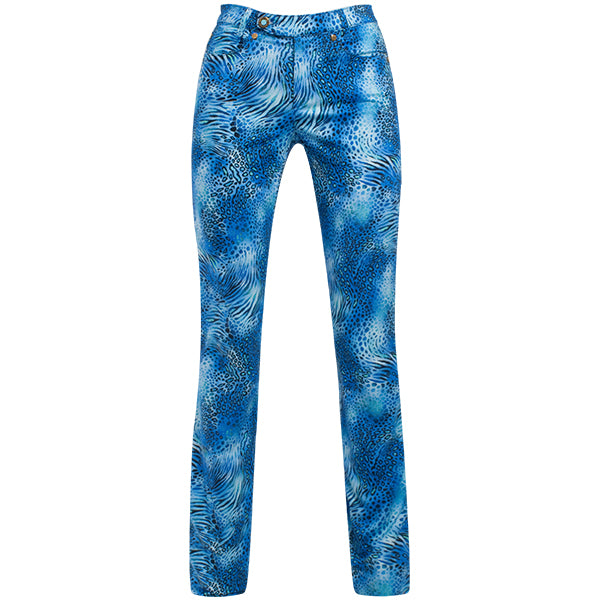 Printed Straight Leg Jean In Blue Leopard