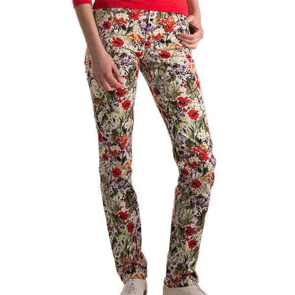 Printed Straight Leg Jean In Spring Poppies
