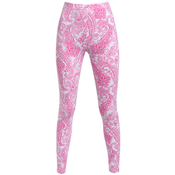 Printed Supplex Legging In Fuxia Paisley
