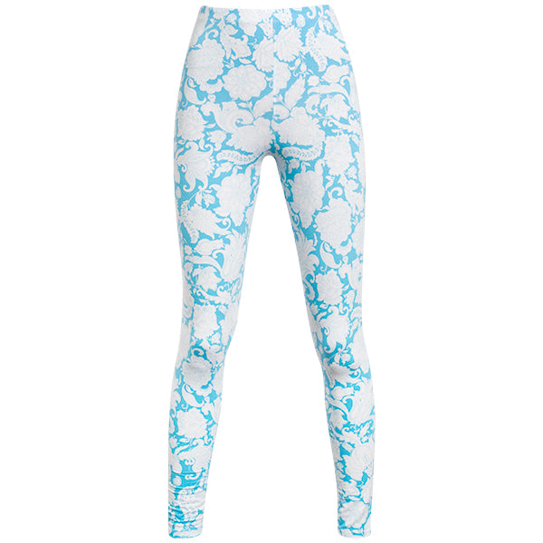 Printed Viscose Legging In Turquoise Provence