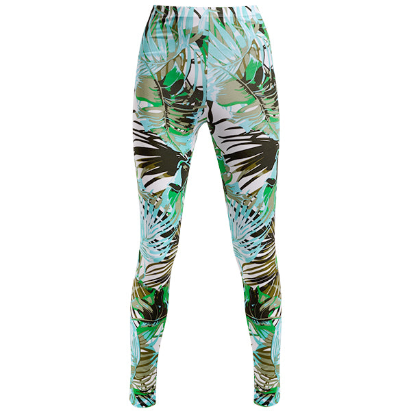 Printed Viscose Legging In Jungle Leaves