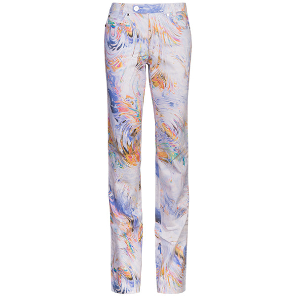 Printed Straight Leg Jean In White Spin Art