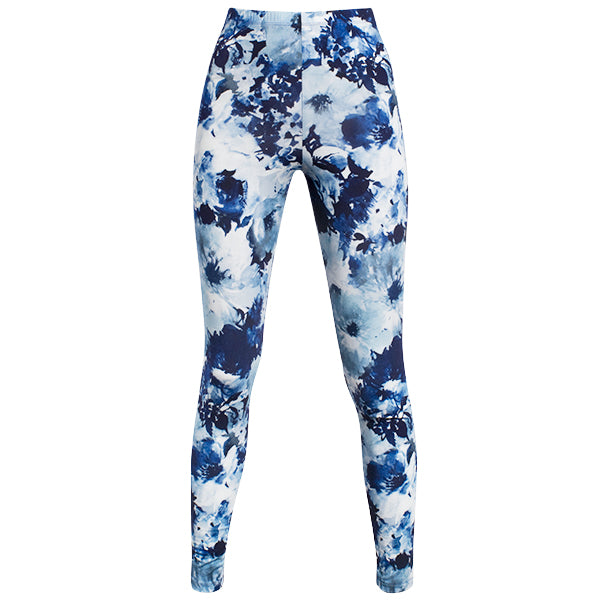 Printed Viscose Legging In Blue Tye Dye Flower