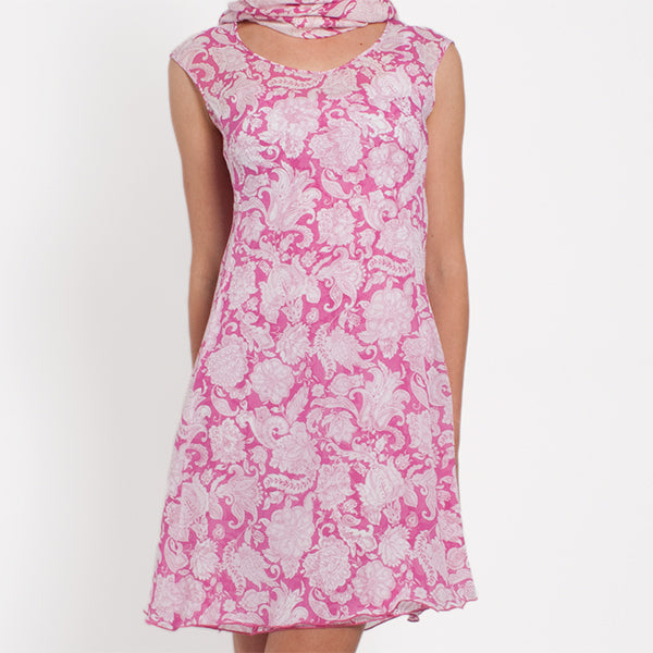 Printed Silk Layered Dress in Fuxia Provence