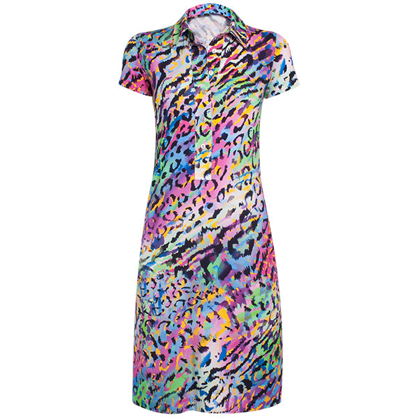 Printed Viscose Shirt Dress in Crazy Animal Mix