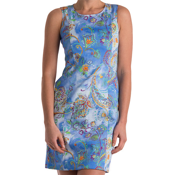 Printed Princess Line Shift Dress in Periwinkle Celestial