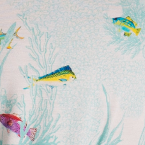 Printed Tee in Fish Toile