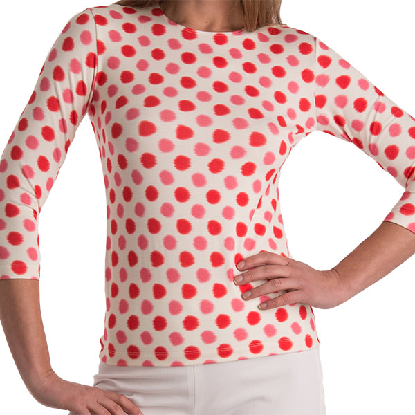 Printed Tee in Red Ikat Dots