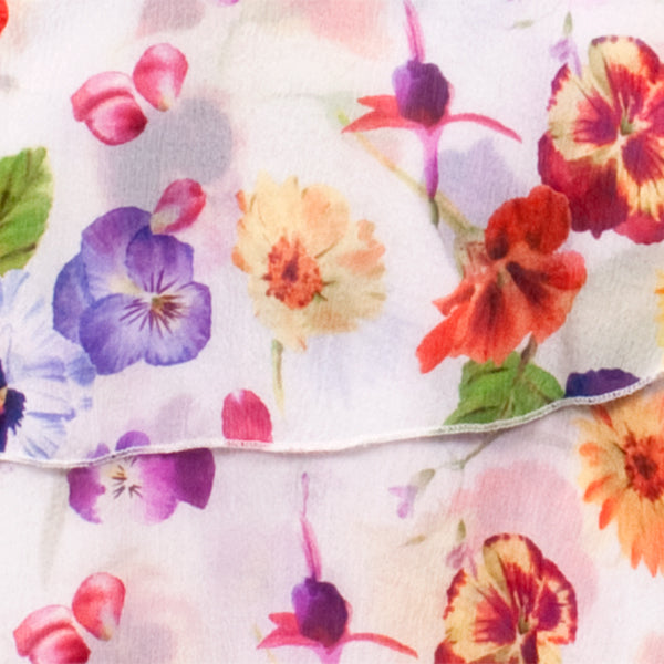 Printed Silk Skirt in Edible Flowers