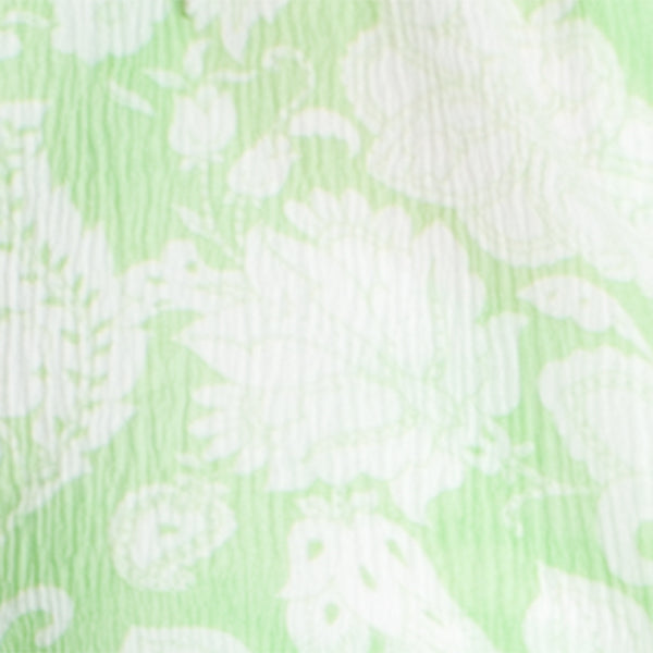 Printed Silk Tie Blouse in Green Provence