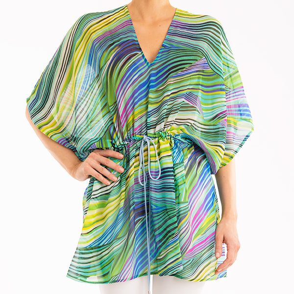 Crepon Drawstring Tunic in Tropical Twist