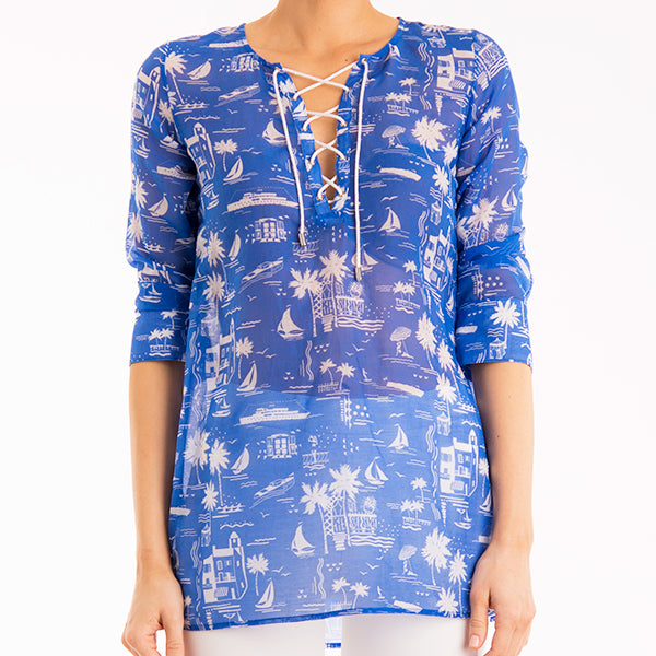Printed V Neck Corded Tunic in Mediterranean Summer