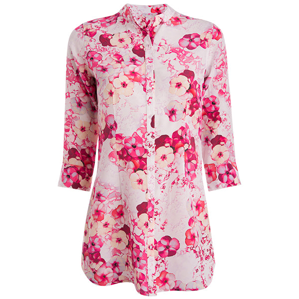 Crepe De Chine St Martin Blouse in Pretty Petunias