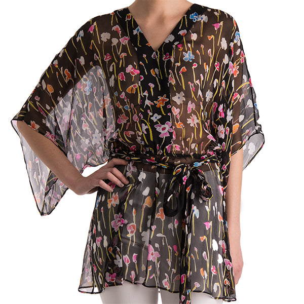 Printed Silk Belted Tunic Blouse in Multi Color Wild Flower
