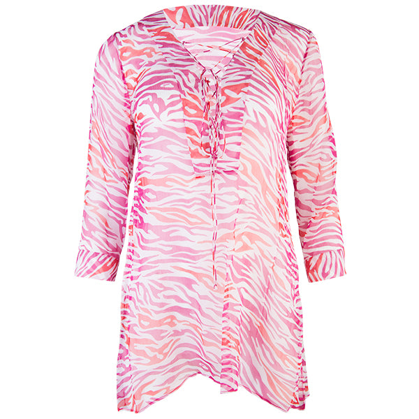 Drawstring Tunic in Fuxia Zebra