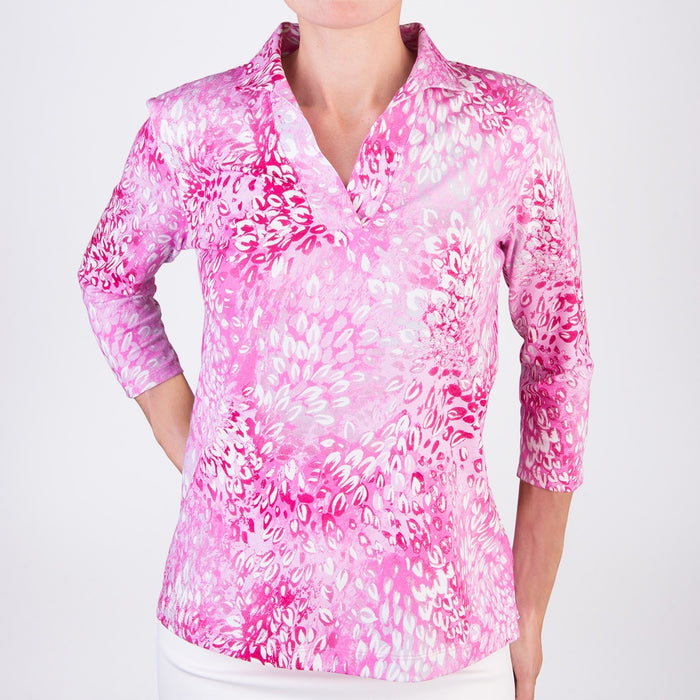 Polo Collar Tee in Pink Florettes