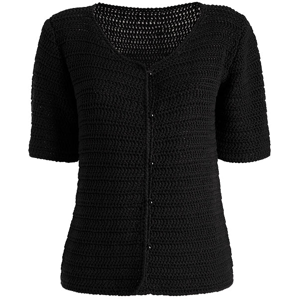 Silk/Cotton Hand Knitted Cardigan in Black,