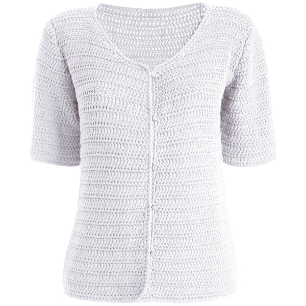 Silk/Cotton Hand Knitted Cardigan in White,