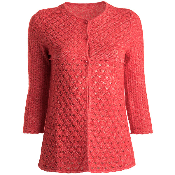 Open Lace 3 Button Cardigan in Russo: