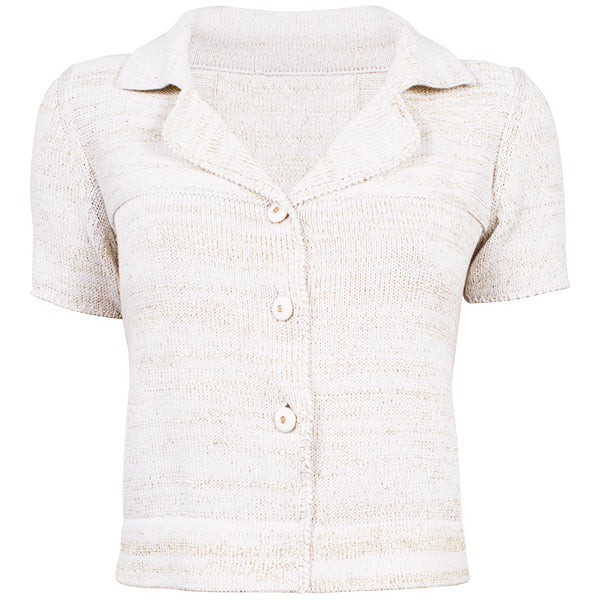 SS Cotton Knitted Jacket in White W/Gold Lurex,