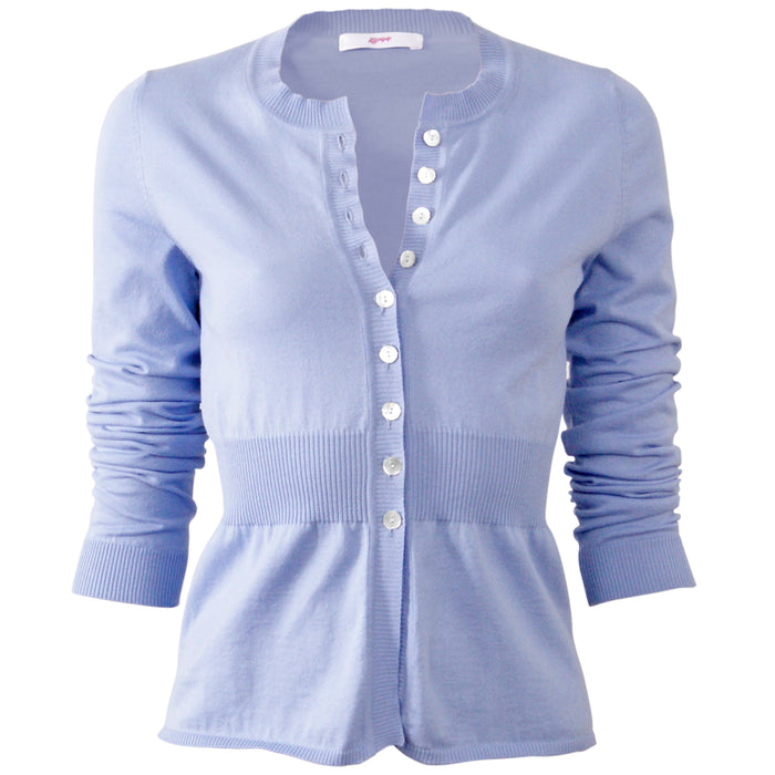 Cotton Ribbed Waist Cardigan in Periwinkle;