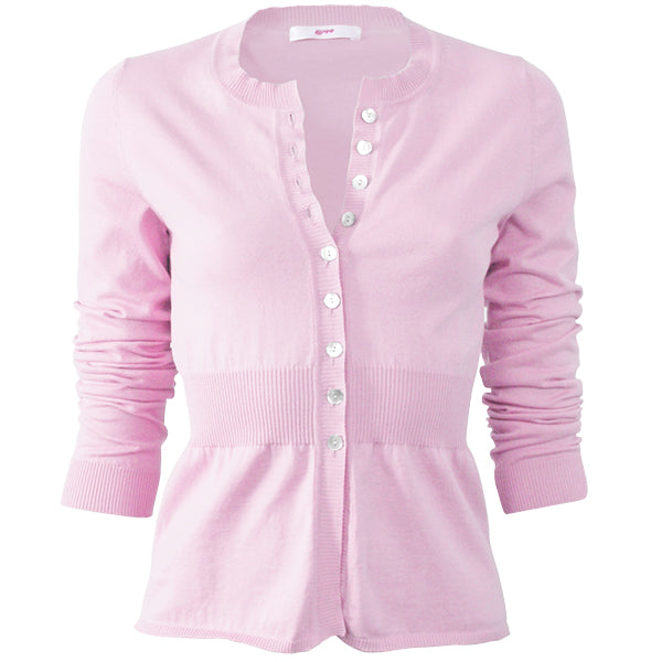 Cotton Ribbed Waist Cardigan in Petal Pink;