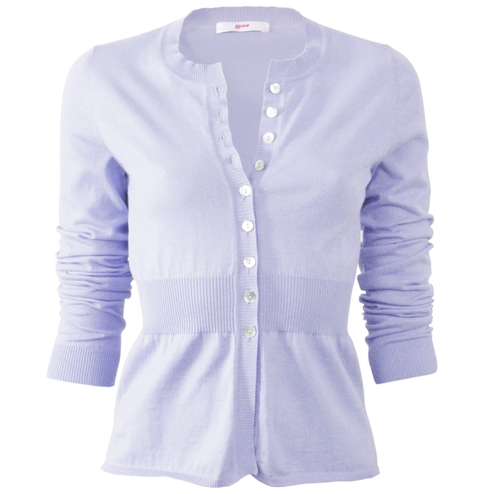 Cotton Ribbed Waist Cardigan in Lilac;
