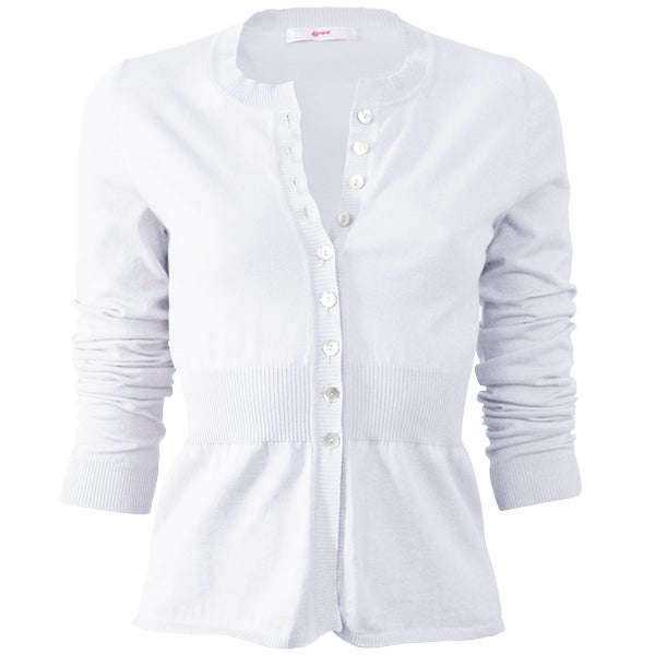 Cotton Ribbed Waist Cardigan in White;