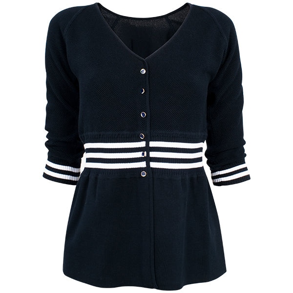 Tennis Sweater in Navy W/ White;