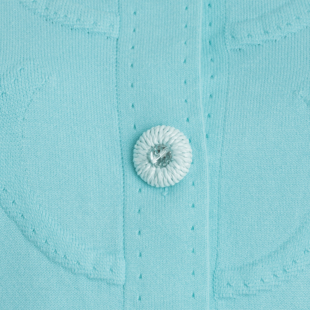 Circles Knit Sweater Jacket in Turquoise,