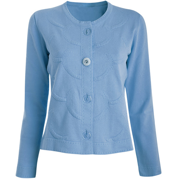 Circles Knit Sweater Jacket in Ocean Blue,