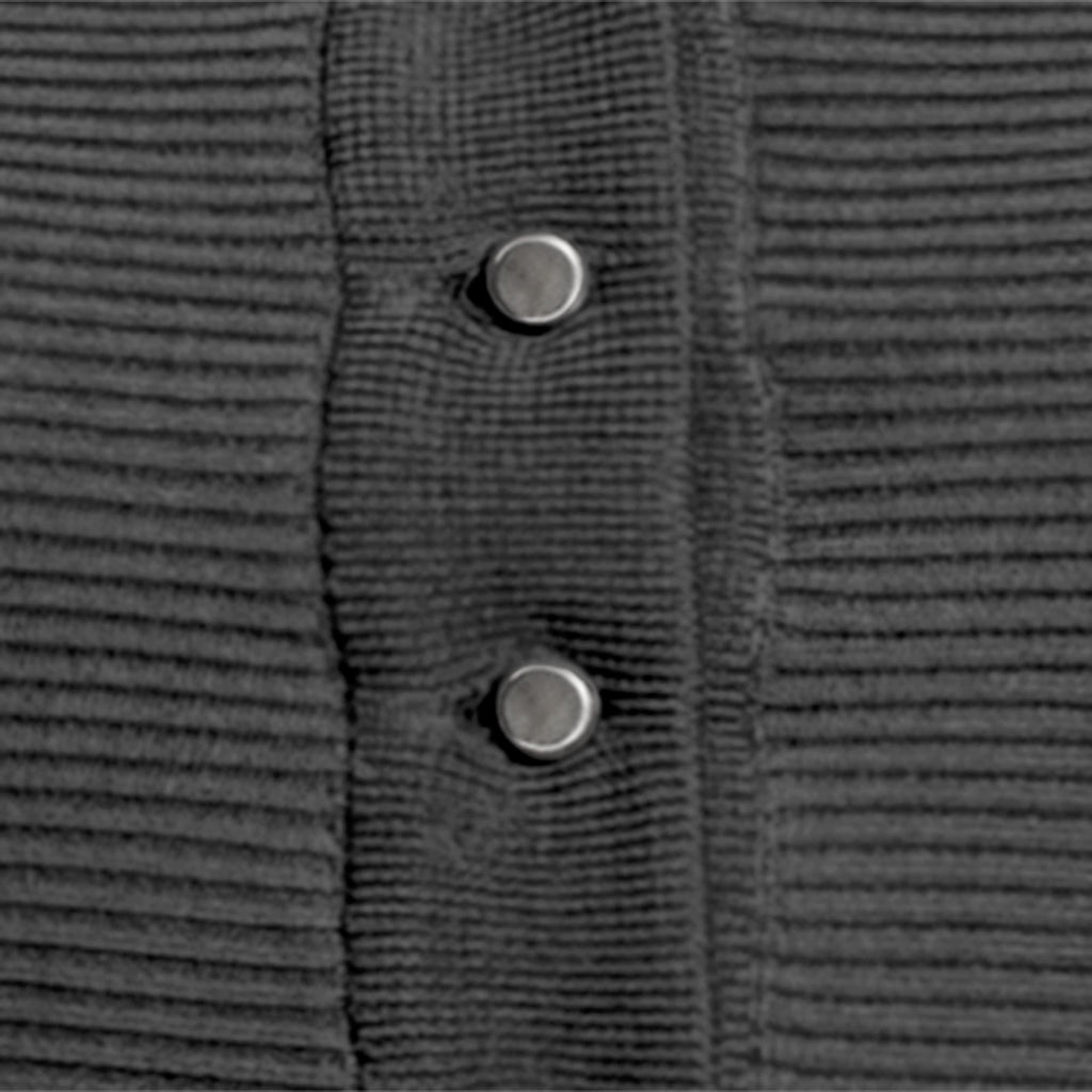 Cotton Ribbed Cardigan in Charcoal: