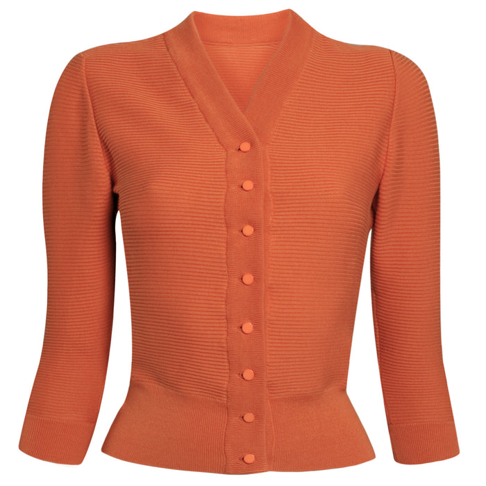 Cotton Ribbed Cardigan in Orange: