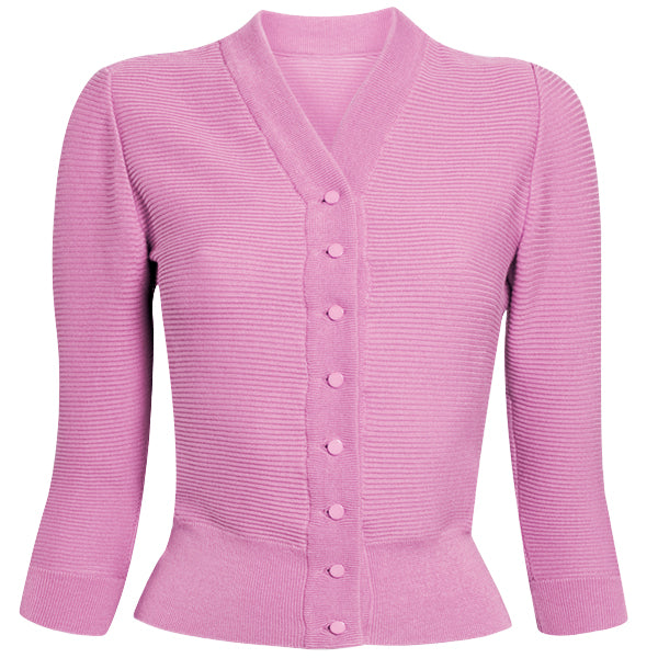 Cotton Ribbed Cardigan in Bubble Gum: