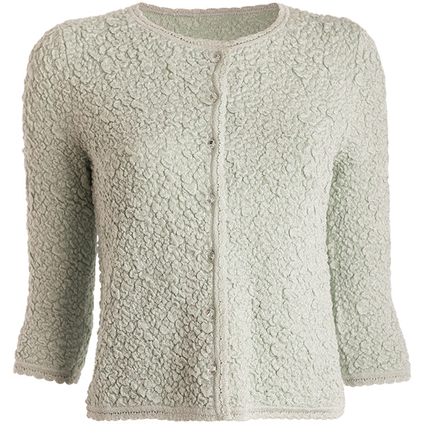 Spring Crinkle Cardigan in Mint,