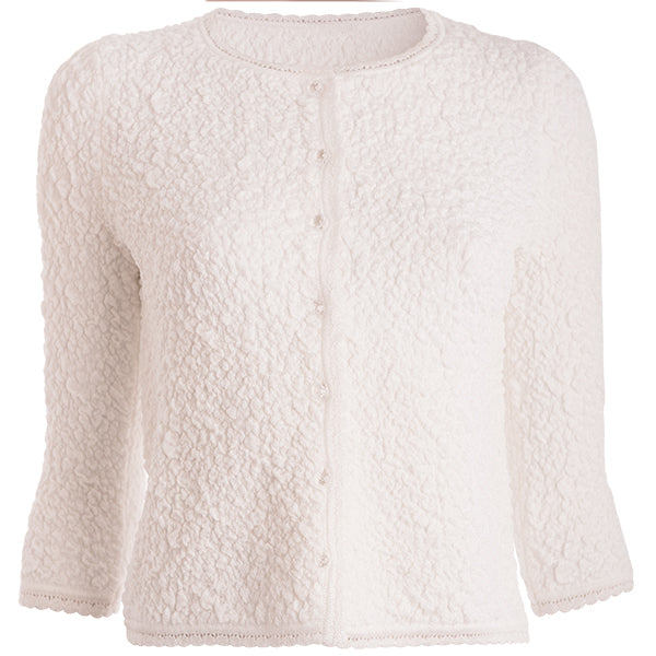 Spring Crinkle Cardigan in White,