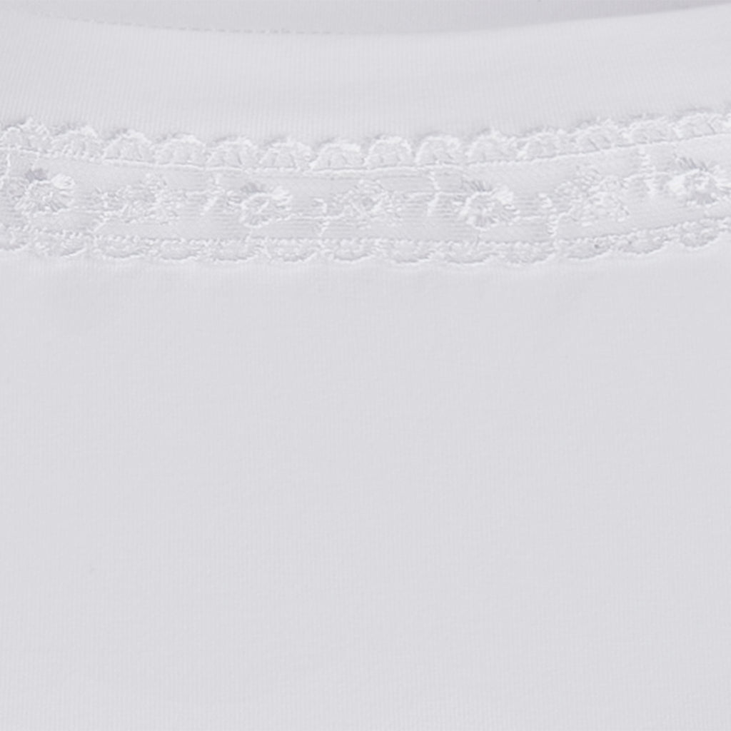 Boatneck Lace Trim Tee In White