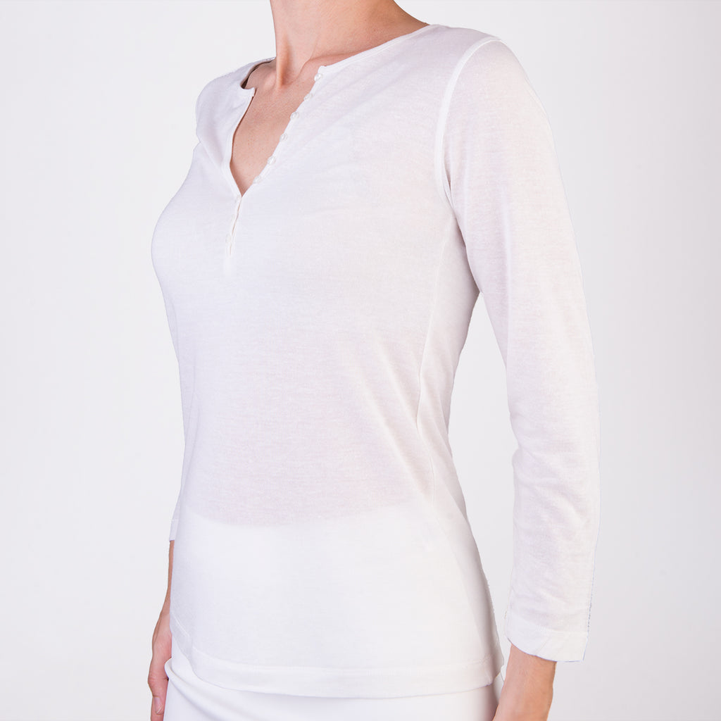 Bamboo Tee W/Button Trim In White