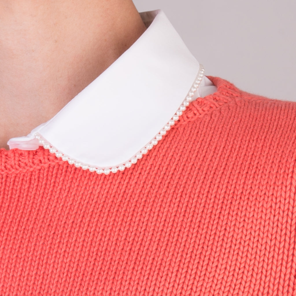 Kelly Shirt with Pearl Trim in White